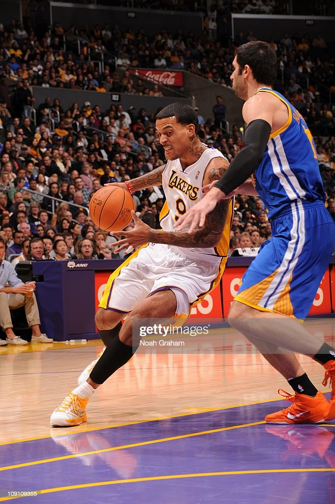 Los Angeles Lakers small forward <a gi-track='captionPersonalityLinkClicked' href=/galleries/search?phrase=Matt+Barnes+-+Basketspelare&family=editorial&specificpeople=202880 ng-click='$event.stopPropagation()'>Matt Barnes</a> #9 protects the ball during the game against the Golden State Warriors at Staples Center on October 31, 2010 in Los Angeles, California. The Lakers won 107-83.