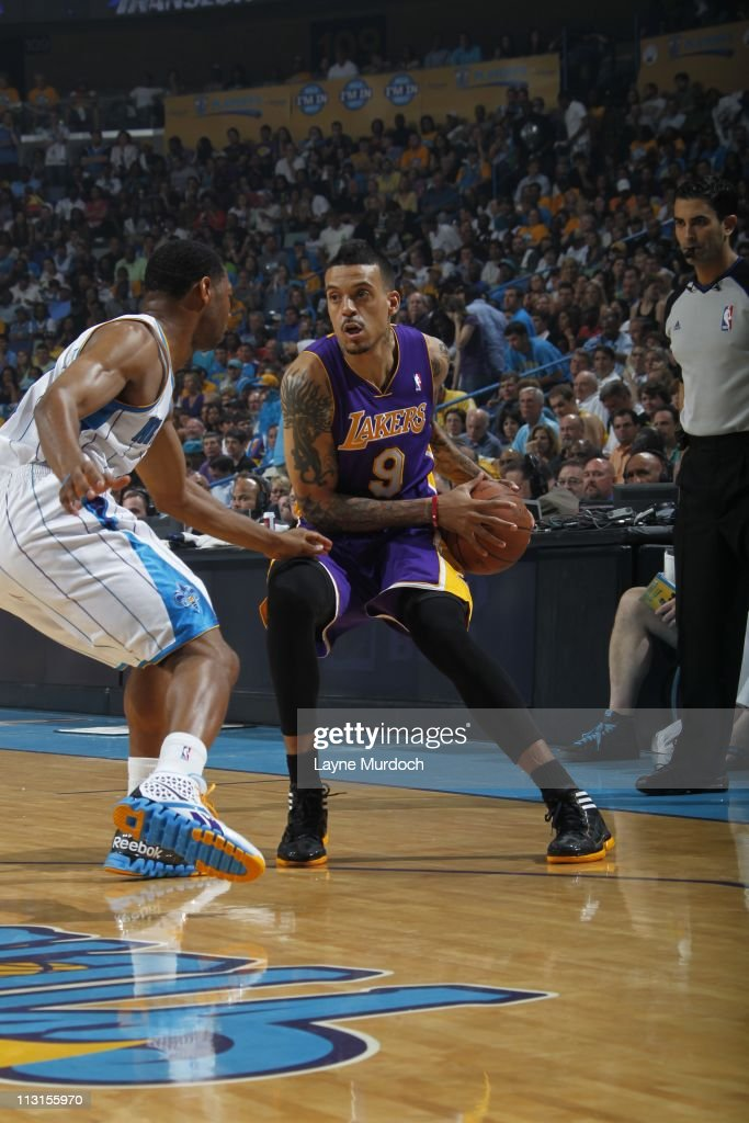 Los Angeles Lakers small forward <a gi-track='captionPersonalityLinkClicked' href=/galleries/search?phrase=Matt+Barnes+-+Basketspelare&family=editorial&specificpeople=202880 ng-click='$event.stopPropagation()'>Matt Barnes</a> #9 protects the ball during the action against the New Orleans Hornets in Game Four of the Western Conference Quarterfinals on April 24, 2011 in the 2011 NBA Playoffs at the New Orleans Arena in New Orleans, Louisiana.