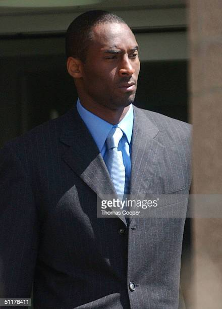 Los Angeles Lakers star Kobe Bryant leaves the Eagle County Justice Center for a lunch break on the last day of hearings before the August 27 trial...