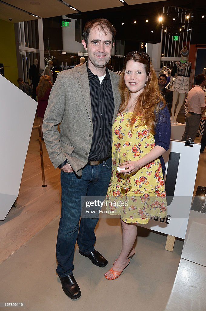Los Angeles manager Matthew Wiseman (L) and guest attend BAFTA Los Angeles and Sir Philip Green Celebrate the British New Wave at Topshop Topman at The Grove on April 30, 2013 in Los Angeles, California.