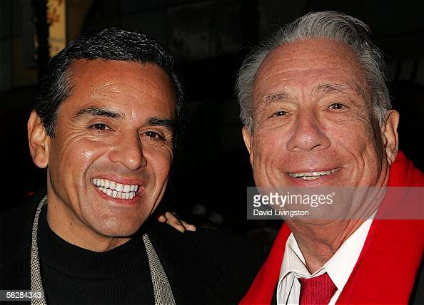 Los Angeles Mayor and Parade Grand Marshal Antonio Villaraigosa poses with Los Angeles Clippers owner Donald T Sterling prior to the 2005 Hollywood...