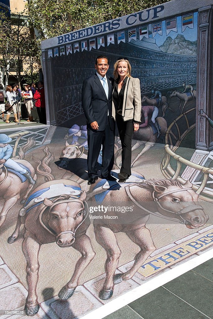 Los Angeles Mayor Antonio Villaraigosa (L) and Actress Bo Derek (R) attend the Breeders' Cup Press Conference at Nokia Plaza L.A. LIVE on October 25, 2012 in Los Angeles, California.