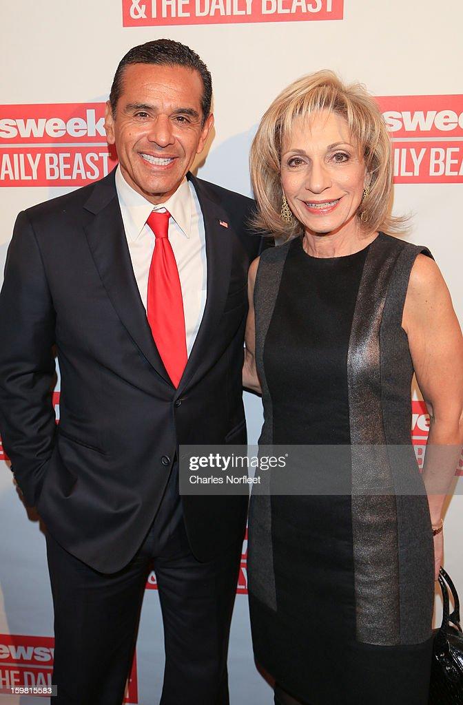 Los Angeles Mayor Antonio Villaraigosa and Andrea Mitchell attend The Daily Beast Bi-Partisan Inauguration Brunch at Cafe Milano on January 20, 2013 in Washington, DC.