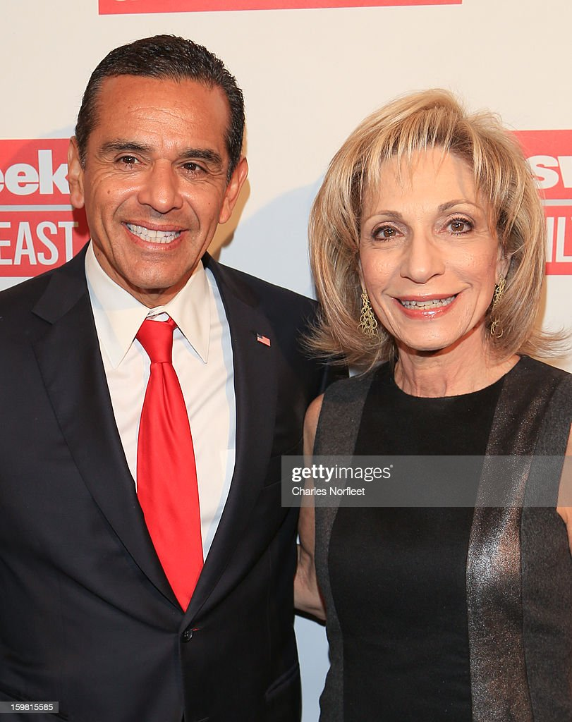 Los Angeles Mayor Antonio Villaraigosa and Andrea Mitchell attend The Daily Beast Bi-Partisan Inauguration Brunch at Cafe Milano on January 20, 2013 in Washington, DC.
