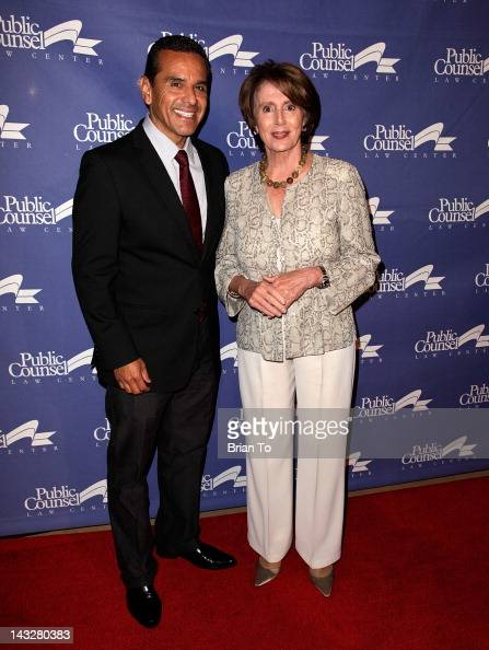 Los Angeles Mayor Antonio Villaraigosa and Democratic Leader Nancy Pelosi attend Public Counsel's 2012 William O Douglas dinner honoring Nobel...