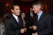 Los Angeles Mayor Antonio Villaraigosa and Harrison Ford at the Peace Over Violence Annual Humanitarian Awards Dinner at the Beverly Hills Hotel on...