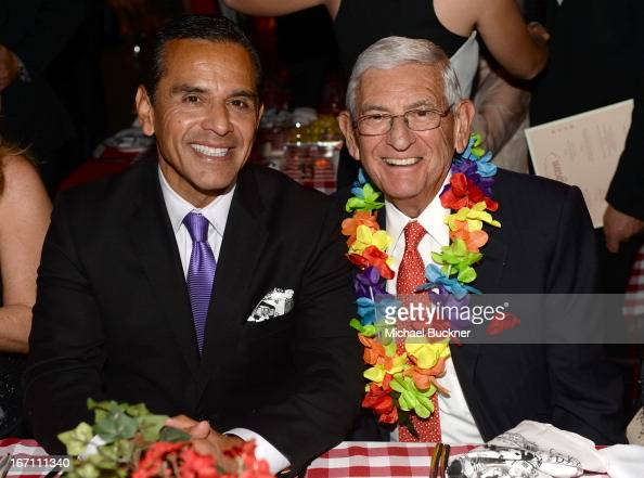 "Los Angeles Mayor Antonio Villaraigosa and MOCA Gala Chair Eli Broad attend ""Yesssss"" MOCA Gala 2013 Celebrating the Opening of the Exhibition Urs..."