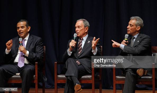 Los Angeles Mayor Antonio Villaraigosa New York Mayor Michael Bloomberg and Chicago Mayor Rahm Emanuel participate in a forum about education in big...