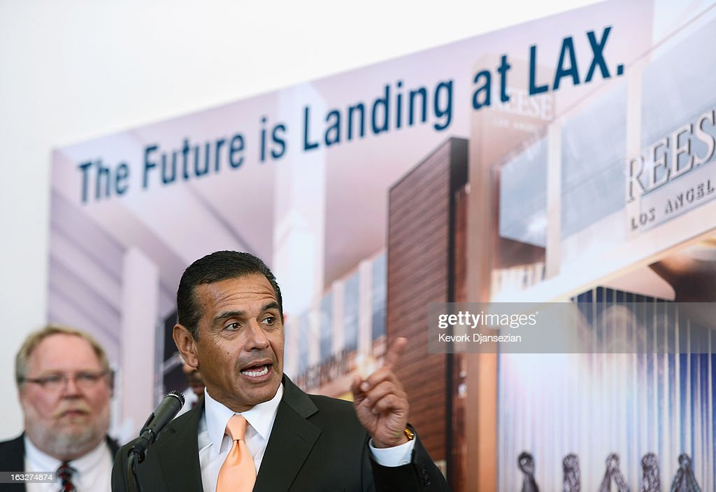 Los Angeles Mayor Antonio Villaraigosa speaks during the unveiling of the north concourse and three gates of the new Tom Bradley International Terminal at Los Angeles International Airport on March 6, 2013 in Los Angeles, California. Nine of the new 18 gates, including two of the three unveiled, can accomodate large aircrafts such as the Boeing 747-8 Intercontinental and Airbus A-380 superjumbo jet. LAX is currently undergoing a $4.1 billion airport modernization program.
