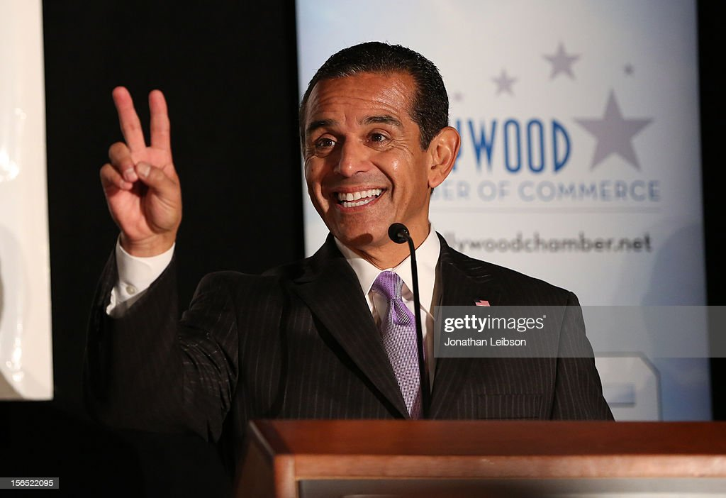 Los Angeles Mayor Antonio Villaraigosa speaks on stage at Variety's Hollywood Chamber Entertainment Conference 2012 at Loews Hollywood Hotel on...