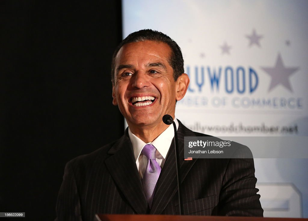 Los Angeles Mayor Antonio Villaraigosa speaks on stage at Variety's Hollywood Chamber Entertainment Conference 2012 at Loews Hollywood Hotel on November 16, 2012 in Hollywood, California.