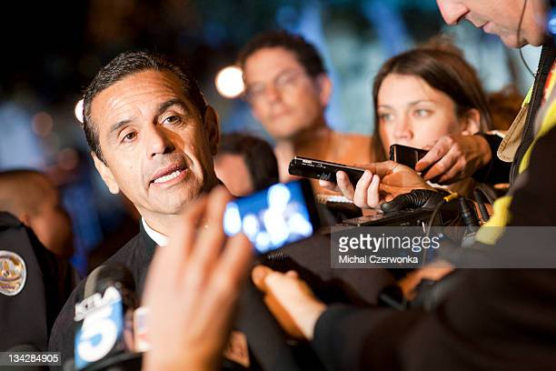 Los Angeles Mayor Antonio Villaraigosa talks to members of the media in front of City Hall in downtown in the early hours of November 30 2011 in Los...