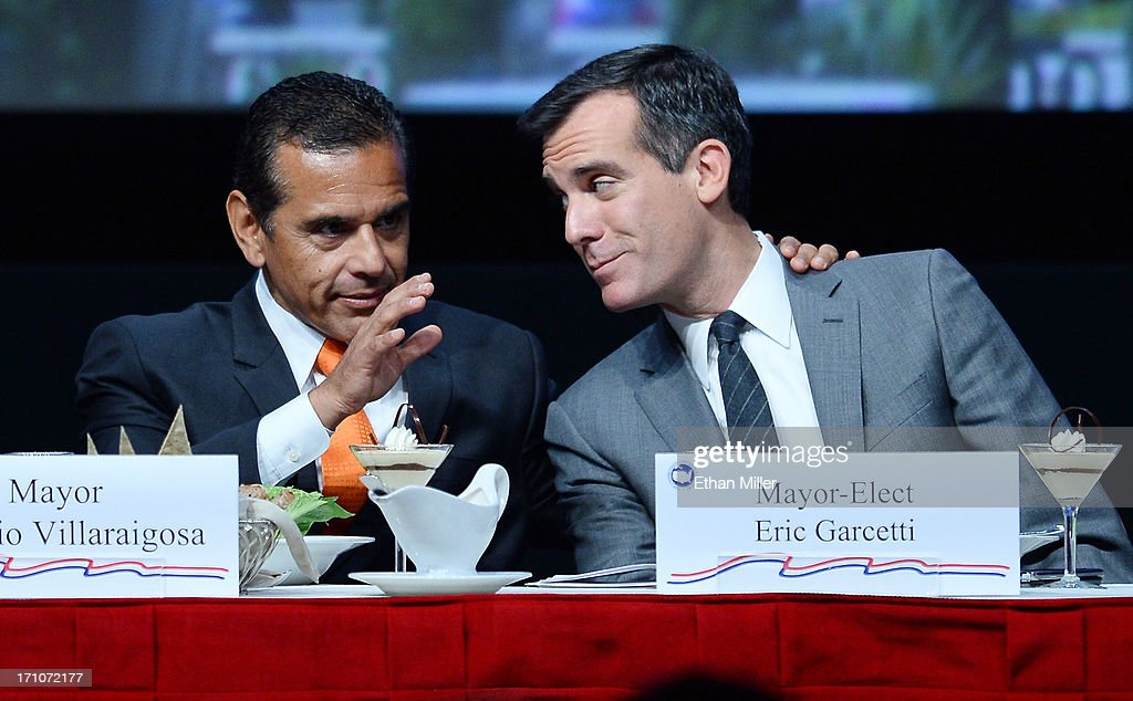 Los Angeles Mayor <a gi-track='captionPersonalityLinkClicked' href=/galleries/search?phrase=Antonio+Villaraigosa&family=editorial&specificpeople=178925 ng-click='$event.stopPropagation()'>Antonio Villaraigosa</a> (L) talks with Los Angeles Mayor-elect <a gi-track='captionPersonalityLinkClicked' href=/galleries/search?phrase=Eric+Garcetti&family=editorial&specificpeople=635706 ng-click='$event.stopPropagation()'>Eric Garcetti</a> at the 81st annual U.S. Conference of Mayors at the Mandalay Bay Convention Center on June 21, 2013 in Las Vegas, Nevada. U.S. Vice President Joe Biden spoke at the conference addressing about 150 mayors from across the country on issues including the economy, immigration reform and gun violence.