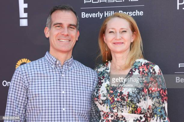 Los Angeles Mayor Eric Garcetti and Amy Wakeland attend PS ARTS' Express Yourself 2017 event at Barker Hangar on October 8 2017 in Santa Monica...