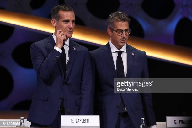 Los Angeles Mayor Eric Garcetti and Chairman of Los Angeles 2028 Casey Wasserman look on during the 131th IOC Session 2024 2028 Olympics Hosts...