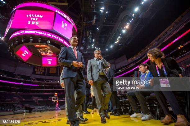 Los Angeles mayor Eric Garcetti and Chairman of the LA 2024 Casey Wasserman leave after a press conference at Staples Center the concluding the IOC...