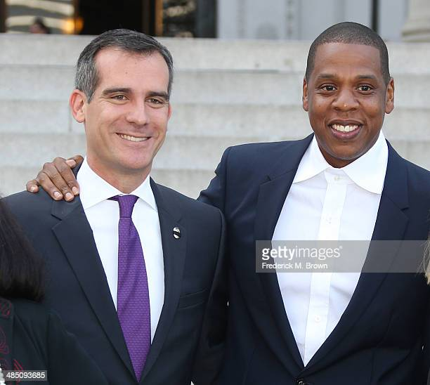 Los Angeles Mayor Eric Garcetti and Recording artist Shawn 'Jay Z' Carter make an announcement on the Steps of City Hall Downtown Los Angeles for a...