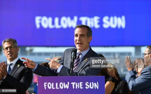 Los Angeles Mayor Eric Garcetti announces a deal has been reached with the International Olympic Committee to host the 2028 Summer Olympics during a...
