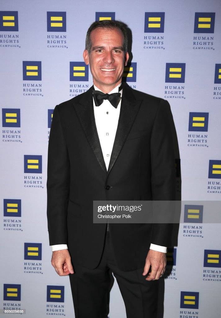 Los Angeles Mayor Eric Garcetti at The Human Rights Campaign 2017 Los Angeles Gala Dinner at JW Marriott Los Angeles at L.A. LIVE on March 18, 2017 in Los Angeles, California.