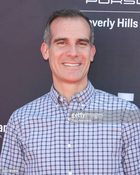 Los Angeles Mayor Eric Garcetti attends PS ARTS' Express Yourself 2017 event at Barker Hangar on October 8 2017 in Santa Monica California