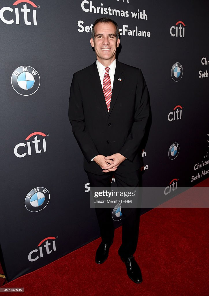 Los Angeles Mayor <a gi-track='captionPersonalityLinkClicked' href=/galleries/search?phrase=Eric+Garcetti&family=editorial&specificpeople=635706 ng-click='$event.stopPropagation()'>Eric Garcetti</a> attends The Grove Christmas with Seth MacFarlane at The Grove on November 14, 2015 in Los Angeles, California.
