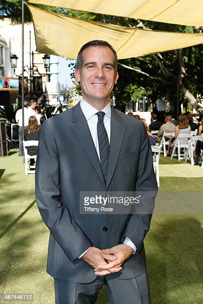 Los Angeles Mayor Eric Garcetti attends the Run to Remember launch event at The Grove on September 9 2015 in Los Angeles California