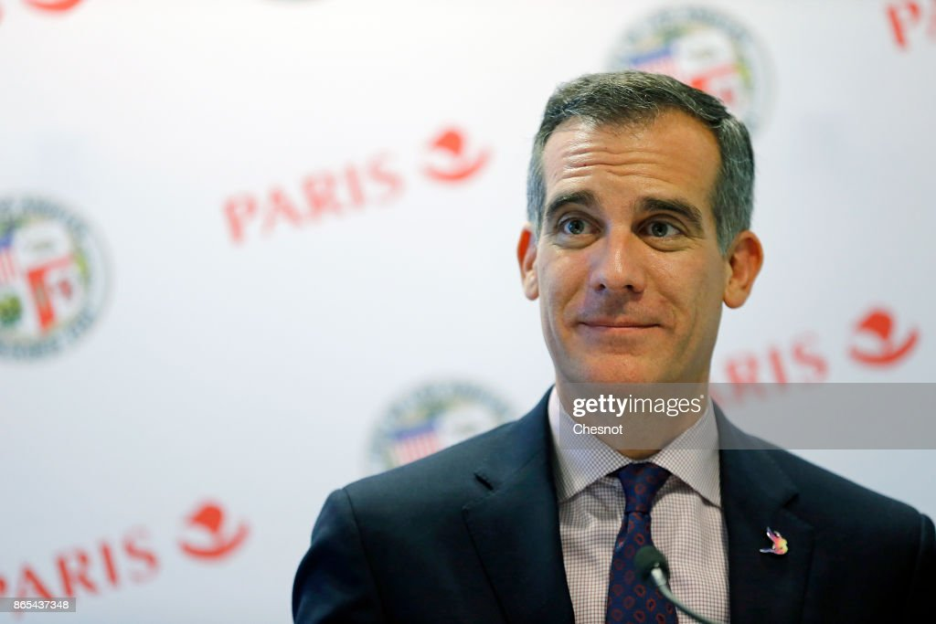 Paris Major Anne Hidalgo Meets Eric Garcetti, Los Angeles Mayor At Hotel Intercontinental In Paris