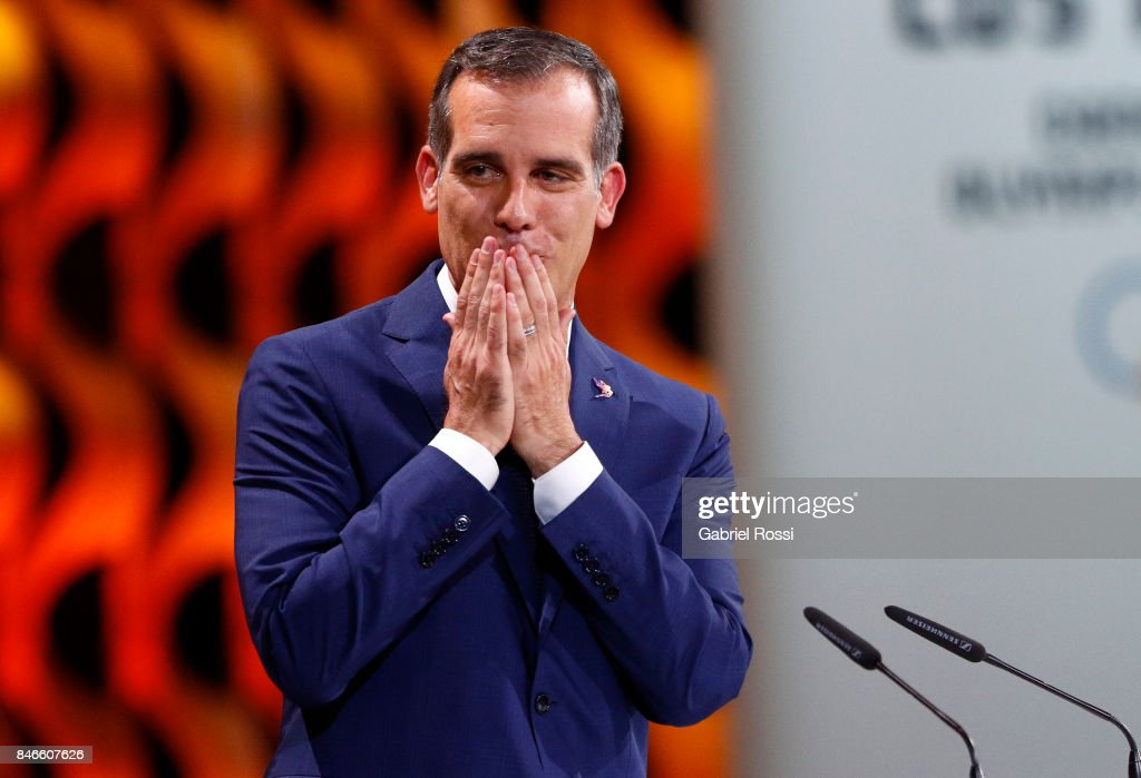 Los Angeles Mayor Eric Garcetti gestures on during the131th IOC Session - 2024 & 2028 Olympics Hosts Announcement at Lima Convention Centre on September 13, 2017 in Lima, Peru.