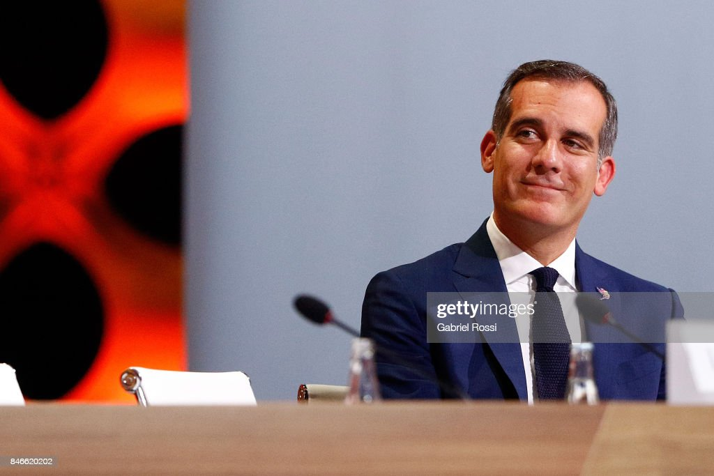 Los Angeles Mayor Eric Garcetti looks on during the 131th IOC Session - 2024 & 2028 Olympics Hosts Announcement at Lima Convention Centre on September 13, 2017 in Lima, Peru.