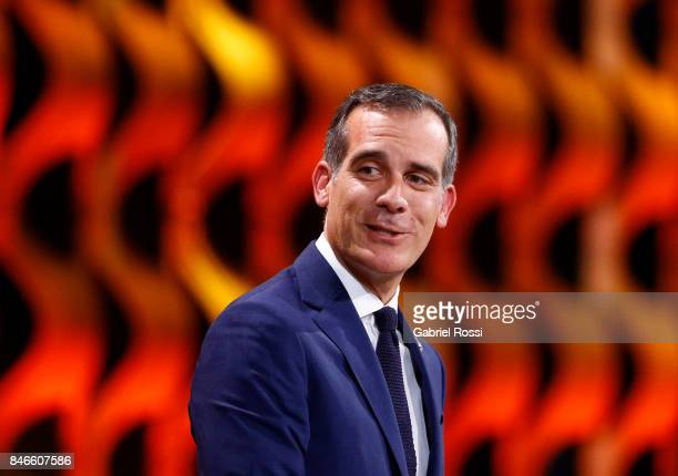 Los Angeles Mayor Eric Garcetti looks on during the131th IOC Session 2024 2028 Olympics Hosts Announcement at Lima Convention Centre on September 13...