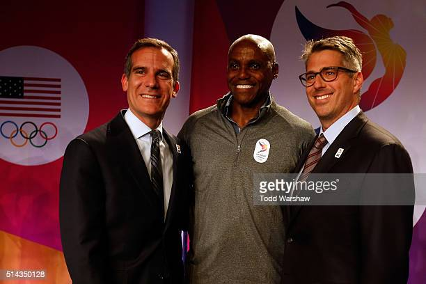 Los Angeles Mayor Eric Garcetti Olympian Carl Lewis and Casey Wasserman Chairman LA2024 address the media at the USOC Olympic Media Summit at The...