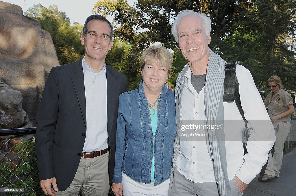 Los Angeles Mayor <a gi-track='captionPersonalityLinkClicked' href=/galleries/search?phrase=Eric+Garcetti&family=editorial&specificpeople=635706 ng-click='$event.stopPropagation()'>Eric Garcetti</a>, President of Greater Los Angeles Zoo Association Connie Morgan and politician Gil Garcetti attend the Greater Los Angeles Zoo Association's (GLAZA) 44th Annual Beastly Ball at Los Angeles Zoo on June 14, 2014 in Los Angeles, California.