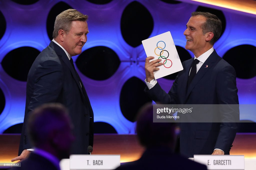 Los Angeles Mayor Eric Garcetti (R) reacts after the confirmation of LA as Host City for 2028 Olympic Games during the 131th IOC Session - 2024 & 2028 Olympics Hosts Announcement at Lima Convention Centre on September 13, 2017 in Lima, Peru.