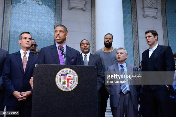 Los Angeles Mayor Eric Garcetti Sacramento Mayor Kevin Johnson Norm Nixon Tyson Chandler and Luke Walton address the media during the press...