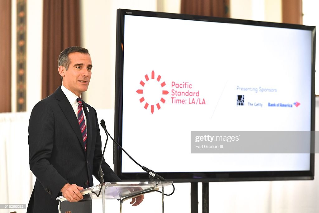 Los Angeles Mayor Eric Garcetti speaks as The Getty Announces New Details About 'Pacific Standard Time LA/LA ' at Vibiana on March 30 2016 in Los...