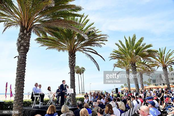 Los Angeles Mayor Eric Garcetti speaks at a press conference as he is joined by USOC CEO Scott Blackmun LA 2024 Chairman Casey Wasserman Olympian...