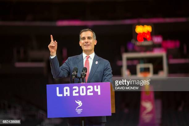 Los Angeles mayor Eric Garcetti speaks during a press conference at Staples Center concluding the IOC Evaluation Commission visit to Los Angeles...