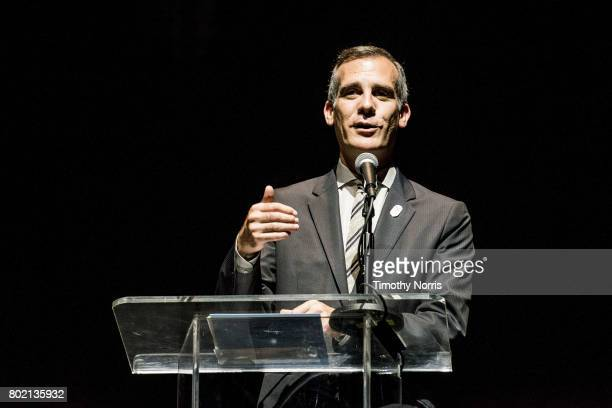 Los Angeles mayor Eric Garcetti speaks during Climate Day LA at The Theatre at Ace Hotel on June 27 2017 in Los Angeles California