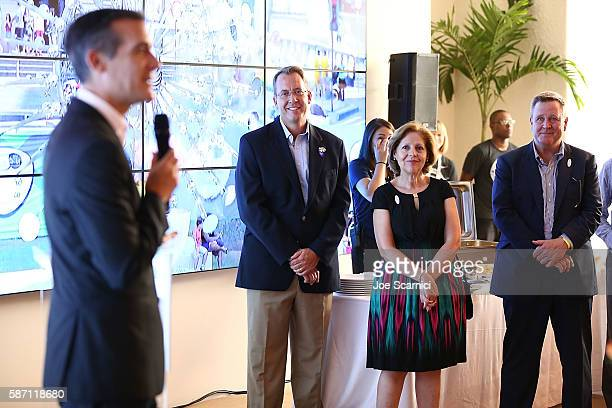 Los Angeles Mayor Eric Garcetti speaks onstage as Counsel General James Story US Consulate Rio de Janeiro Ambassador Liliana Ayalde US Mission to...