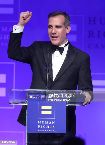Los Angeles Mayor Eric Garcetti speaks onstage at The Human Rights Campaign 2017 Los Angeles Gala Dinner at JW Marriott Los Angeles at LA LIVE on...