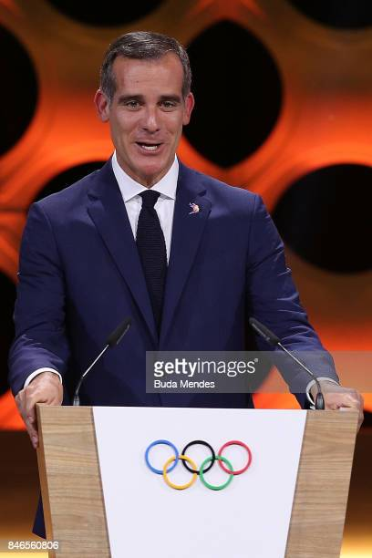 Los Angeles Mayor Eric Garcetti talks during the 131th IOC Session 2024 2028 Olympics Hosts Announcement at Lima Convention Centre on September 13...