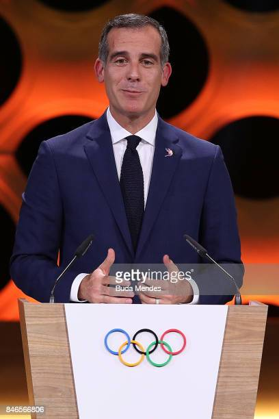 Los Angeles Mayor Eric Garcetti talks to the attendats during the 131th IOC Session 2024 2028 Olympics Hosts Announcement at Lima Convention Centre...