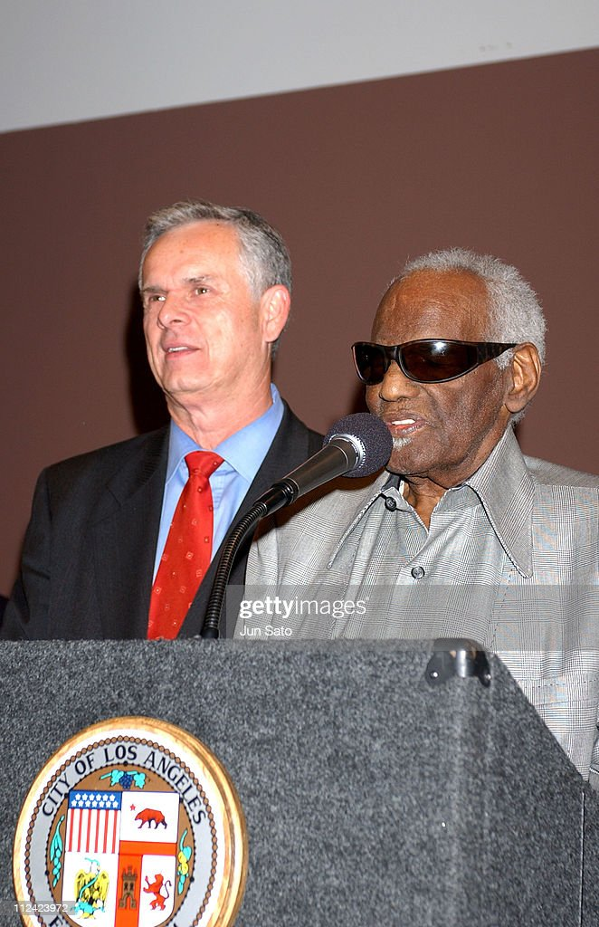 Los Angeles Mayor James Hahn and Ray Charles during Ray Charles to be Named LA's 'Cultural Treasure' at African American Museum in Los Angeles, California, United States.