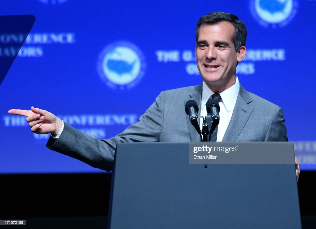 Los Angeles Mayor-elect <a gi-track='captionPersonalityLinkClicked' href=/galleries/search?phrase=Eric+Garcetti&family=editorial&specificpeople=635706 ng-click='$event.stopPropagation()'>Eric Garcetti</a> speaks at the 81st annual U.S. Conference of Mayors at the Mandalay Bay Convention Center on June 21, 2013 in Las Vegas, Nevada. U.S. Vice President Joe Biden spoke at the conference addressing about 150 mayors from across the country on issues including the economy, immigration reform and gun violence.