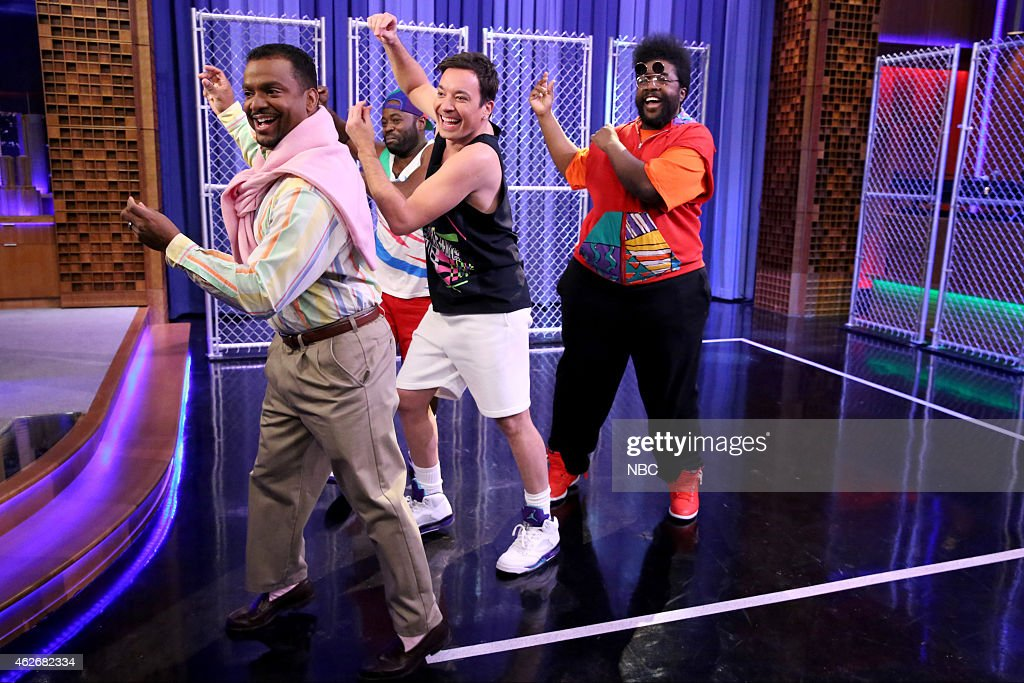FALLON -- 'Los Angeles Opening Sequence' -- Pictured: (l-r) <a gi-track='captionPersonalityLinkClicked' href=/galleries/search?phrase=Alfonso+Ribeiro&family=editorial&specificpeople=628950 ng-click='$event.stopPropagation()'>Alfonso Ribeiro</a>, Tariq Trotter, host <a gi-track='captionPersonalityLinkClicked' href=/galleries/search?phrase=Jimmy+Fallon&family=editorial&specificpeople=171520 ng-click='$event.stopPropagation()'>Jimmy Fallon</a> and Ahmir-Khalib Thompson --
