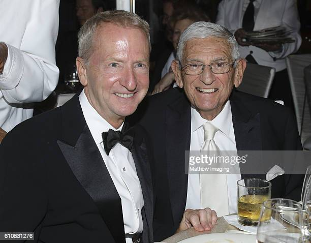 Los Angeles Philharmonic Association Board Of Directors David Bohnett and entrepreneur/philanthropist Eli Broad pose for portrait at Walt Disney...