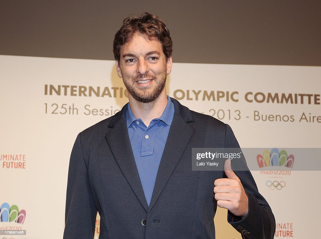Los Angeles player <a gi-track='captionPersonalityLinkClicked' href=/galleries/search?phrase=Pau+Gasol&family=editorial&specificpeople=201587 ng-click='$event.stopPropagation()'>Pau Gasol</a> attends the 'Madrid 2020' Press Conference at NH City Hotel on September 5, 2013 in Buenos AIres, Argentina