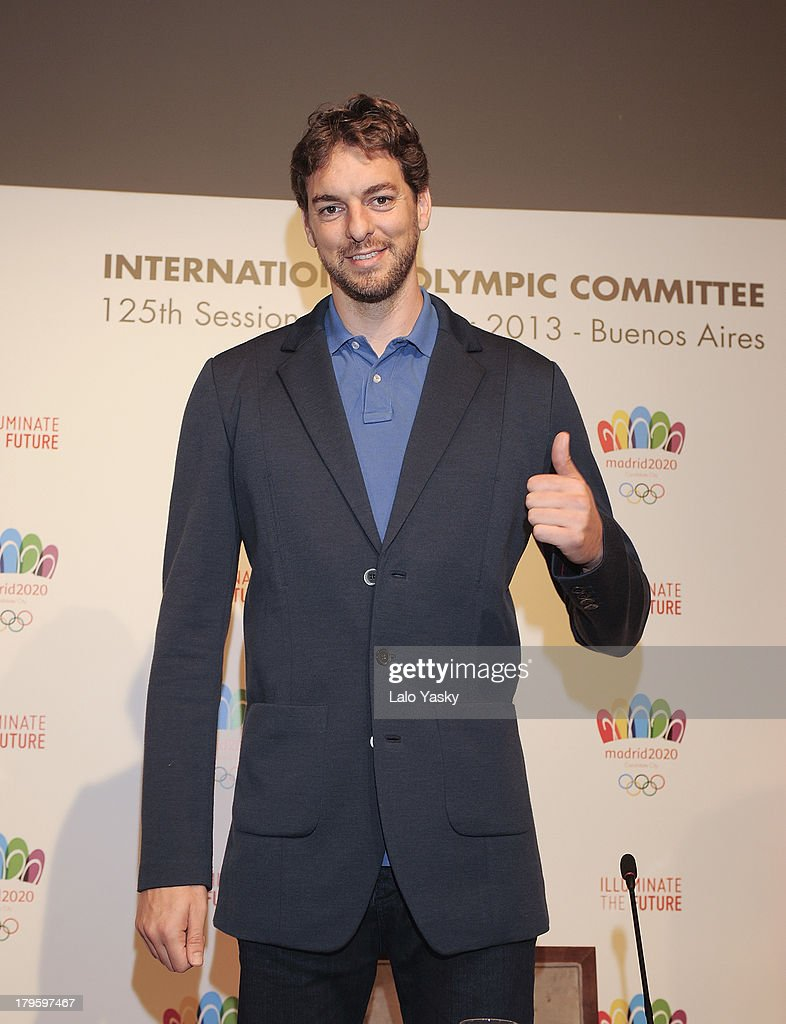 Los Angeles player Pau Gasol attends the 'Madrid 2020' Press Conference at NH City Hotel on September 5, 2013 in Buenos AIres, Argentina