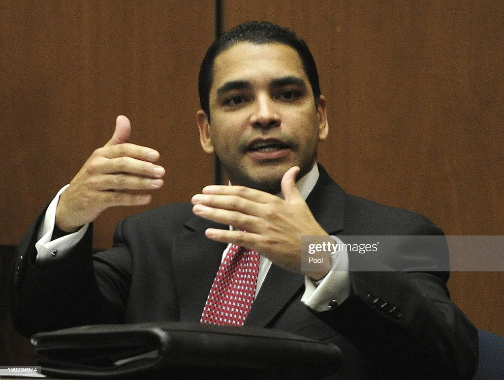 Los Angeles Police Department Detective Orlando Martinez testifies as the defense starts its case during Dr. Conrad Murray's involuntary manslaughter trial in Los Angeles Superior Court on October 24, 2011 in Los Angeles, California. Murray has pleaded not guilty and faces four years in prison and the loss of his medical licenses if convicted of involuntary manslaughter in Michael Jackson's death.