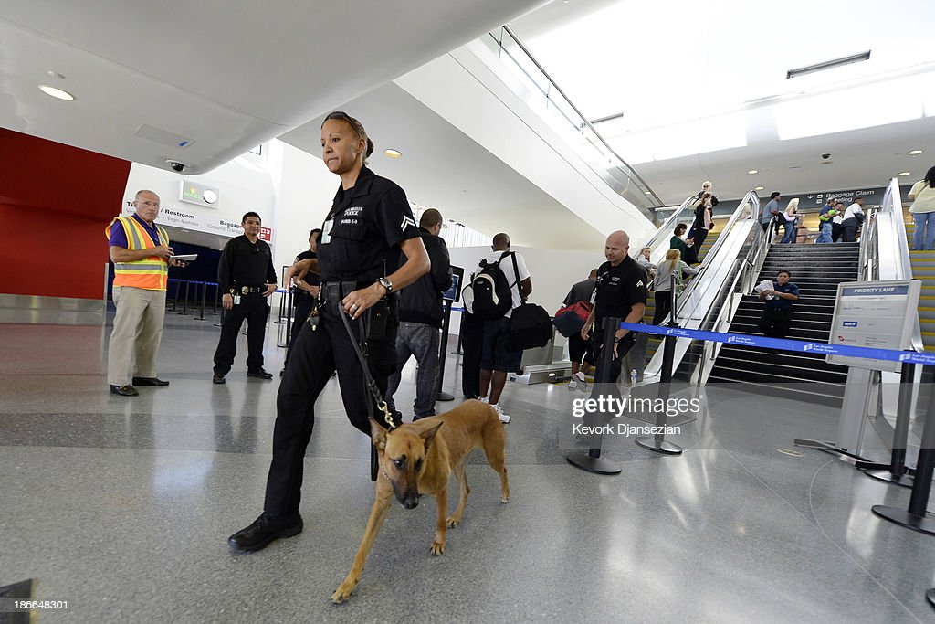 A Los Angeles Police Department officer and her canine leave after making a sweep of the re-opened Terminal 3 a day after a shooting at Los Angeles International Airport November 2, 2013 in Los Angeles, California. The airport is almost back to normal operations a day after a man pulled out an assault rifle and shot his way through security at Terminal 3, killing one Transportation Security Administration worker and wounding several others. Federal officials identified the alleged gunman as Paul Ciancia, 23.